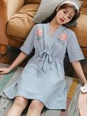 睡裙女夏季純棉短袖日擊和服夏天睡衣薄款韓版甜美清新寬鬆家居服新年交換禮物