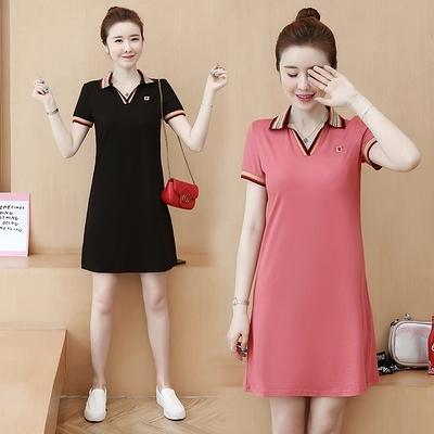 洋裝 短袖洋裝 連身裙夏季韓版顯瘦連身裙女新款polo領休閑風時尚寬松中長款A字裙FFA015紅粉佳人