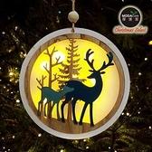 摩達客木質中型圓形聖誕彩繪麋鹿吊飾(LED電池燈)