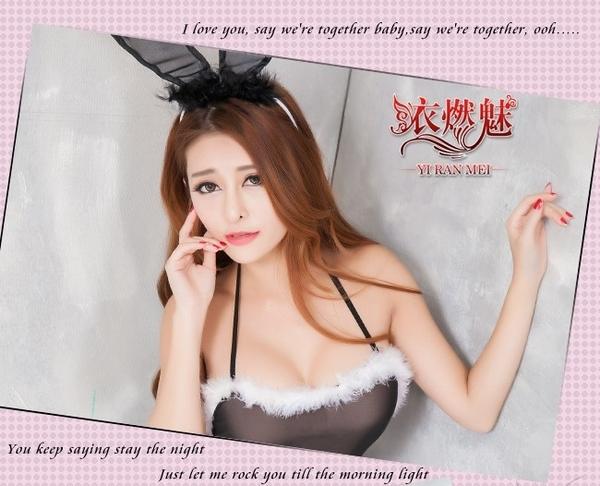 情趣角色服 二件式黑色性感薄紗兔女郎  情趣連身衣 死庫水 性感睡衣 QUEEN情趣精品