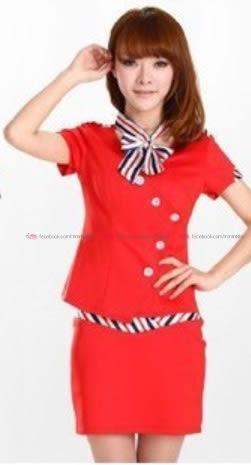衣美姬♥DJ工作服 公關空姐制服誘惑 兩件式上衣+裙子百搭修身 甜美套裝