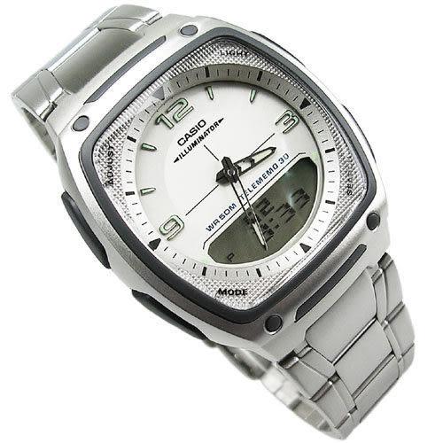 CASIO卡西歐 雙顯錶 方型 白面 不銹鋼 37mm 男錶 AW-81D-7A