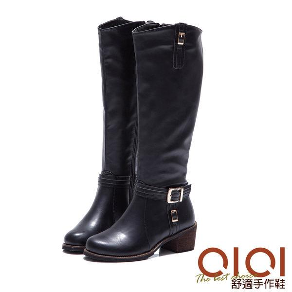 長靴 率性美型皮帶釦長筒跟靴(黑) *0101shoes【18-1705bk】【現+預】