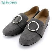 ★新品上市★【Bo Derek】圓環金屬裝飾踩後跟懶人鞋-灰