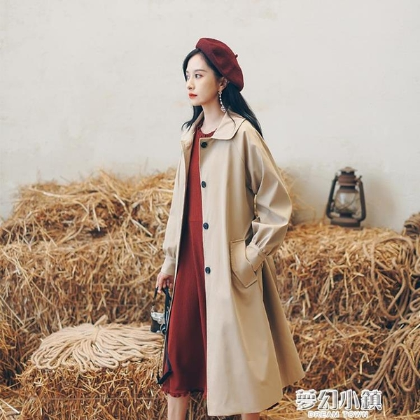 風衣女中長款小個子薄款氣質大衣2020年新款秋季韓版寬鬆休閒外套ATF 雙十二購物節
