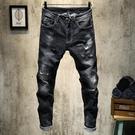 新款男士黑色破洞牛仔褲乞丐韓版修身小直筒補丁寬鬆彈力青年 台北日光