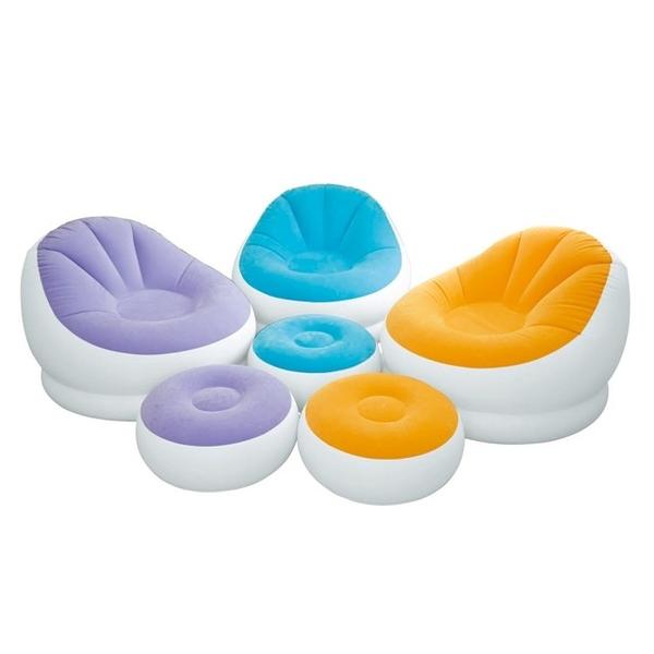 【INTEX】《馬卡龍懶人椅》單人充氣沙發椅附腳椅-三色隨機出貨