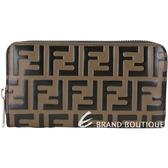 FENDI FF 配色浮雕小牛皮拉鍊長夾(黑x棕)1920189-B3
