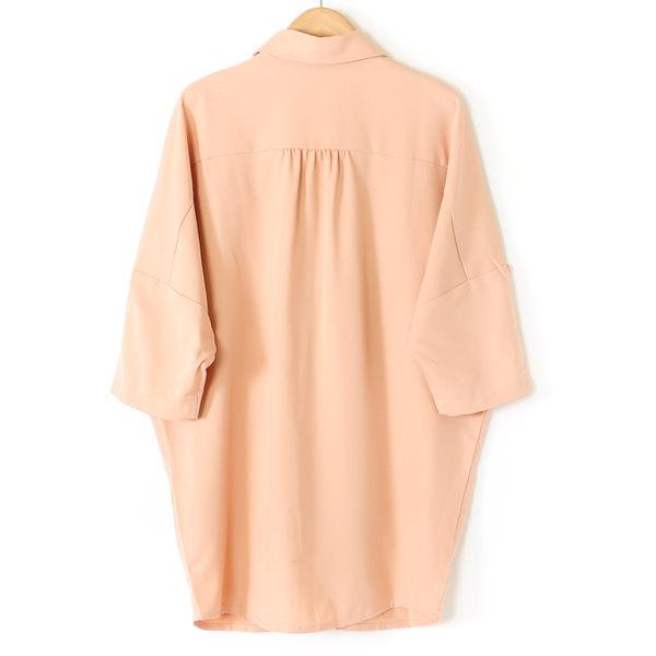 【MASTINA】五分寬袖排扣上衣-桔 好康優惠