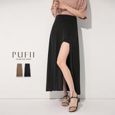 限量現貨◆PUFII-褲裙 鬆緊腰前開衩中長褲裙- 0512 現+預 夏【CP18537】