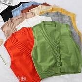 背心馬甲 針織背心女外穿2021秋季新款韓版短款V領馬甲學院風減齡上衣女 薇薇