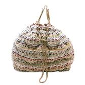 CHANEL 香奈兒 彩色編織毛呢粉紅牛皮金鍊手提肩背兩用包 Drawstring Bag【BRAND OFF】