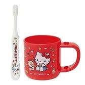 小禮堂 Hello Kitty 兒童牙刷 漱口杯 牙刷杯組 附牙刷蓋 盥洗用品 3-5歲適用 (紅 餅乾) 4973307-47065