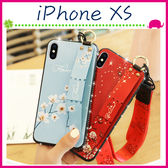 Apple iPhoneXs Max 花卉系列背蓋 水鑽邊手機殼 長短繩保護殼 掛飾保護套 全包邊手機套 支架