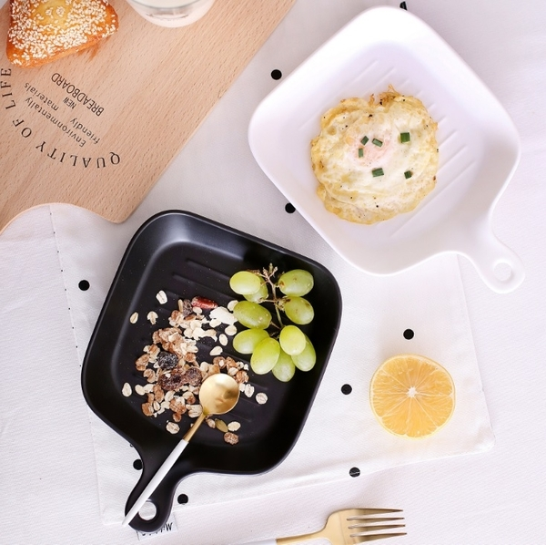 歐式陶瓷焗烤盤 烤盤 烘培烤盤 磨砂 單柄 啞光色【H80909】