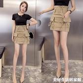 窄裙 超高腰工裝系帶顯瘦包臀裙女子女式短裙休閒半身裙 美好生活