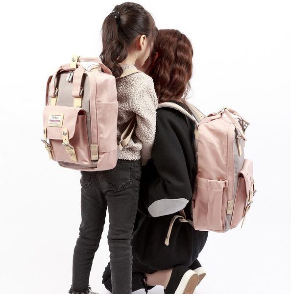Heine海恩親子包組合 馬卡龍撞色媽媽包兒童包 超強收納功能 多夾層 暑假 出遊必備