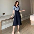 VK精品服飾 韓國風復古夏季收腰撞色翻領小眾氣質短袖洋裝