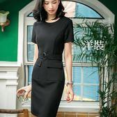 美之札[8S101-PF]復古風圓環扣腰帶OL連身裙洋裝