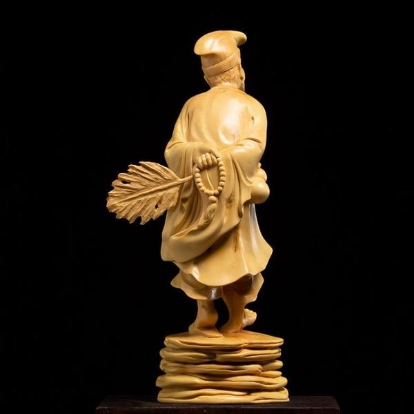 小葉黃楊木家用供奉雕刻工藝品實木木雕活佛濟公佛像擺件
