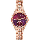 Michael Kors Lauryn 晶鑽小秒針星空手錶-紫x玫瑰金/33mm MK4437
