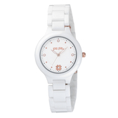 Folli Follie 閃耀花朵陶瓷腕錶-白