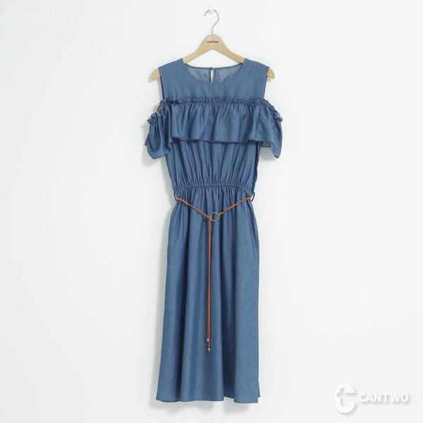 CANTWO露肩蕾絲拼接荷葉洋裝-共兩色