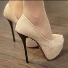 促銷全場九折 歐美夜店性感防水臺單鞋夏季新款超高跟鞋14CM細跟亮片金色婚鞋女