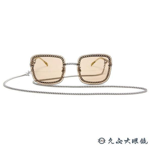 CHANEL 香奈兒 太陽眼鏡 4244 (銀) 鍊環 方框 附眼鏡鏈 墨鏡 久必大眼鏡