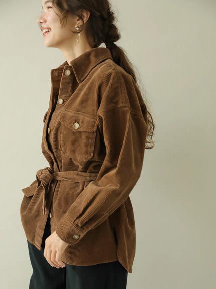 ❖ Autumn ❖ 燈心絨有機棉工作風綁帶襯衫上衣 - earth music&ecology