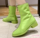 前拉鏈馬丁靴女春秋單靴2019新款短靴復古百搭粗跟時尚平底靴 XN5521【Rose中大尺碼】