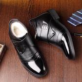 冬款男士羊毛短靴老頭穿真皮土軟底棉靴子加絨老年爸爸鞋老人綿靴