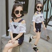 潮童裝女童夏裝新款上衣露肩t恤洋氣時髦 LQ5285『小美日記』