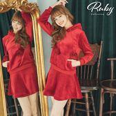 套裝 毛球絨布連帽套裝 上衣+褲裙-Ruby s 露比午茶