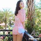 比基尼泳裝-日本品牌AngelLuna 現貨 清新粉色連身裙三件式溫泉沙灘泳衣