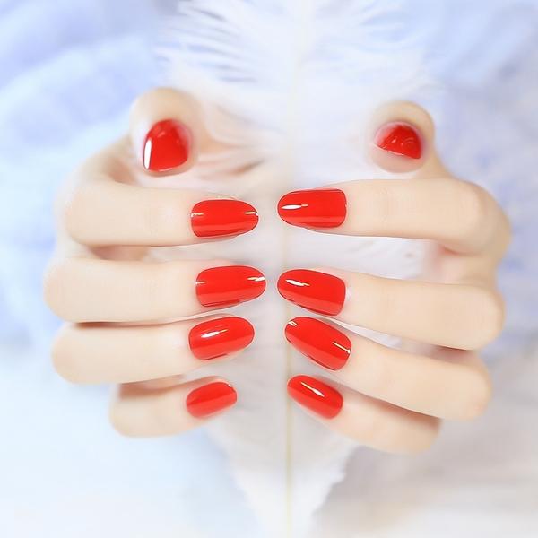 限定款光療感指甲油小圓頭正紅色假指甲新娘指甲貼片 成品 軟料制作 顏色鮮艷配外套皮衣風衣