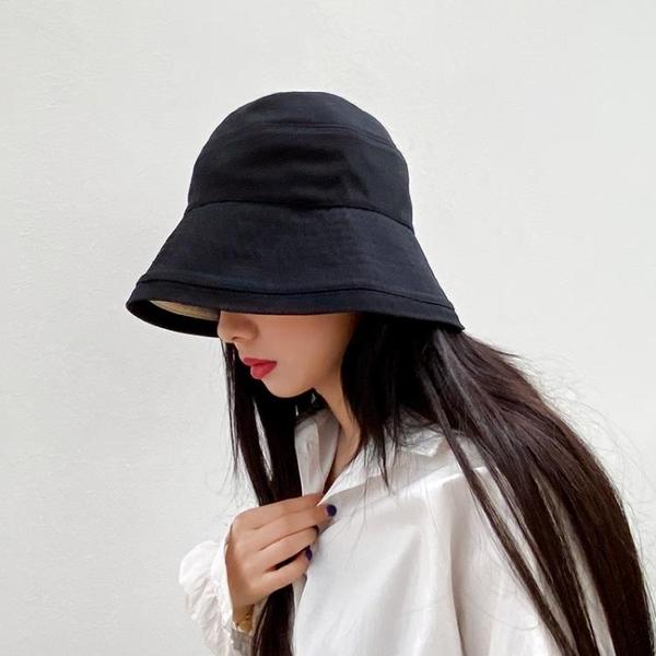 帽子女遮陽帽夏天薄款防曬雙面戴漁夫帽夏日系時尚春夏季水桶帽潮 草莓妞妞