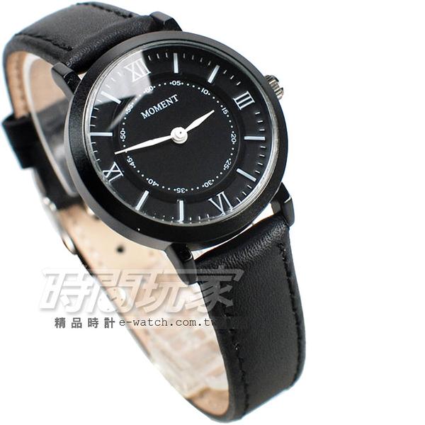MOMENT舜時 日本機蕊 羅馬數字時刻 真皮錶帶 女錶 IP黑電鍍色 MO8095黑小