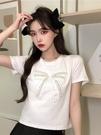 短袖T恤 夏季2021年新款蝴蝶結甜美寬松顯瘦白色薄款T恤短袖上衣女裝ins潮