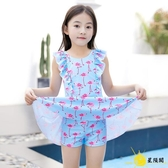 兒童泳衣 童寶寶防曬游泳衣中大童孩連體裙式公主韓版學生泳裝