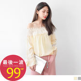 OB嚴選《AB2242-》素色鏤空蕾絲一字領設計拼接荷葉袖雪紡寬鬆上衣.2色--適 S~L
