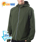 UV100 防曬 抗UV-涼感透氣夜光連帽外套-男