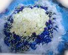 新北市永和人氣花店~(YE-02)99朵浪漫藍白玫瑰花束免運費只要3600元~歡迎預定情人節花束~