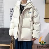假兩件棉衣男秋冬寬鬆撞色加厚連帽棉服休閒保暖外套【創世紀生活館】