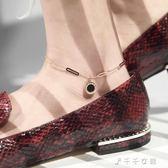 吊黑豆腳踝鍊簡約韓版學生森系性感玫瑰金腳環鈦鋼不掉色腳鍊女消費滿一千現折一百