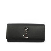 【YSL】logo硬殼小牛皮clutch手拿包(黑色)326079 BOW0N 1000