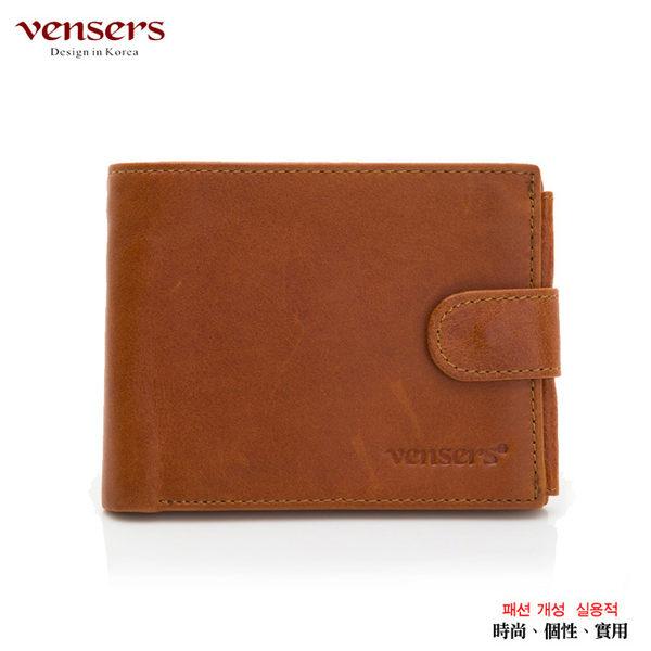 vensers小牛皮潮流個性皮夾~NB0500101土黃短夾