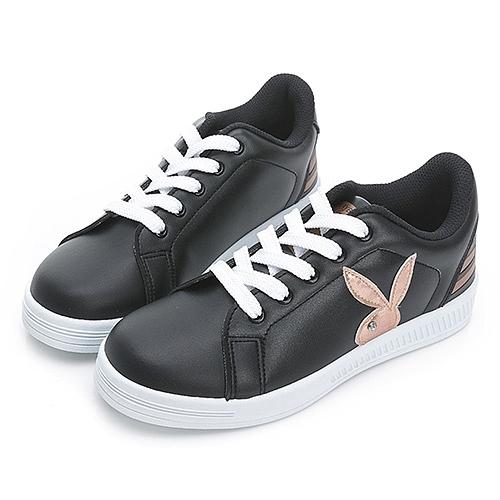 PLAYBOY 條紋魅力 兔兔小白鞋-黑玫瑰金(Y7220)