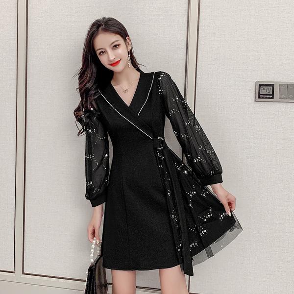 絕版出清 韓系亮片紗袖v領復古修身顯瘦禮服長袖洋裝