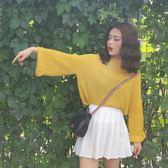 復古風春裝新款寬鬆套頭亮色針織衫不對稱領口毛衣女上衣禮物限時八九折
